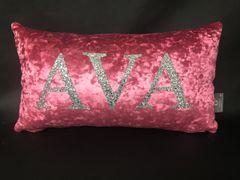 Beautiful personalised name glitter & velvet cushion - colour options