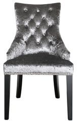 Charcoal crushed velvet dining chair with arms button back detail and ringback