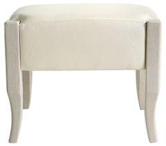 Beautiful cream faux leather with glossy ivory walnut finish stool