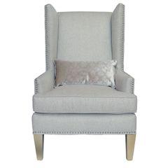 Beautiful Glamour cream high back chair in matt linen