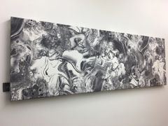 Beautiful printed velvet marble detail wall art grey & white - size options
