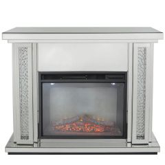 LIMITED STOCK-Beautiful Floating Crystal and mirror surround - including electric fire