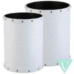 White with silver glitter set of 2 Waste bins