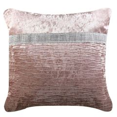 Beautiful 43x43 Blush Pink With Side Diamante Stripe Cushion