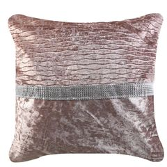 Beautiful 50x50 Blush Pink Crushed Velvet with Diamante Strip Cushion