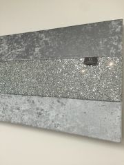 Stunning Gunmetal grey crushed velvet with silver glitter wall art - size options