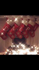 Stunning glitter & velvet personalise christmas stocking - colour options