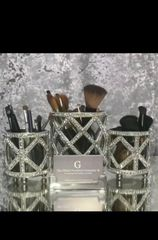 glass and crystal tealight holder - make up brush holder- size options