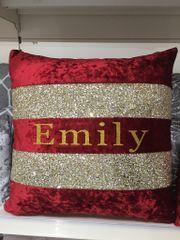 Beautiful personalised Ava glitter scatter cushion & velvet - colour options