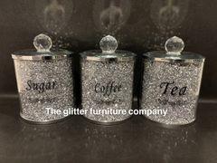 Crystal sparkle tea, coffee and sugar holders