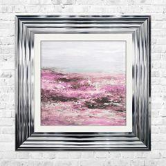 BLUSH COAST liquid art picture 55cm x 55cm with chrome frame