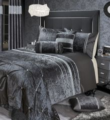stunning Renzio crystal detail bedding set -charcoal - size options