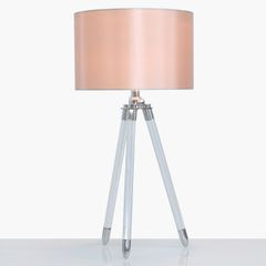 Acrylic Tripod Table Lamp With Blush Pink Shade