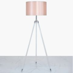 Acrylic Tripod Floor Lamp With Blush Pink Shade