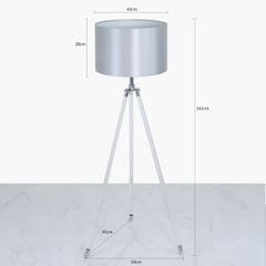 Acrylic Tripod Floor Lamp With Silver Shade