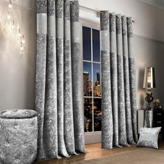 stunning crushed velvet & diamonte silver eyelet ready made curtains - size options