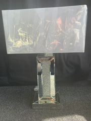 LIMITED STOCK Stunning large crystal crackle and mirror table lamp 45cm