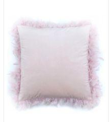 Blush pink feather velvet cushion