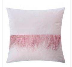 Beautiful blush pink feather cushion