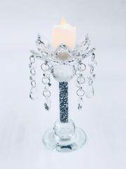 Beautiful crushed crystal flower detail candle holder - medium
