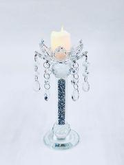 Stunning crushed crystal flower detail candle holder - large