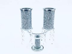 Beautiful crushed crystal double candle holder