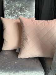 Beautiful reversible soft touch diamond and plain sided scatter cushions