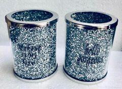 Set of 2 crystal makeup brush holders