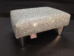 Luxury Silver Sparkle Glitter Footstool Small