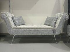 Stunning Double ended chaise/ bedroom seat silver glitter - silver velvet