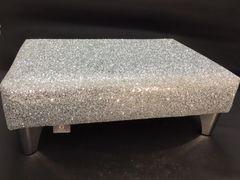 Luxury Silver Sparkle Glitter Footstool Medium