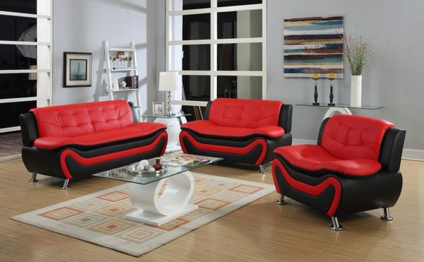#8162 3PC RED/BLACK LEATHER SOFA, LOVE & CHAIR