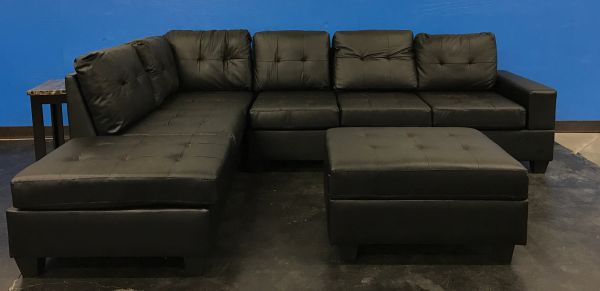 #2303 BLACK LEATHER SECTIONAL & STORAGE OTTOMAN