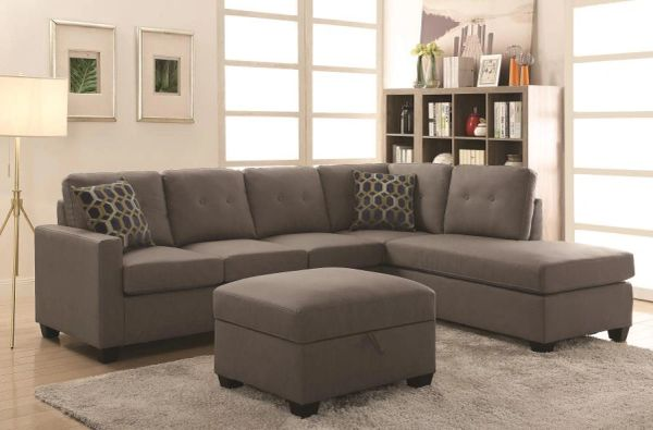 Fabulous B1687 Taupe Leather Sectional With Pillows Optional Storage Ottoman Onthecornerstone Fun Painted Chair Ideas Images Onthecornerstoneorg