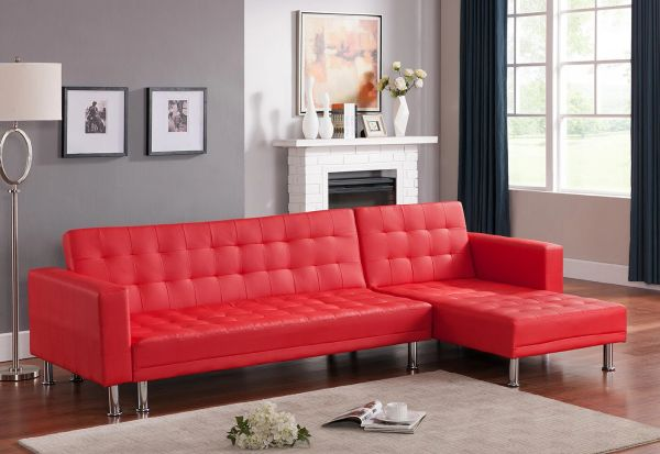 #1317 RED LEATHER SECTIONAL/SOFA BED!!!