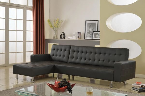 Astounding 1315 Black Leather Sectional Sofa Bed Home Interior And Landscaping Oversignezvosmurscom