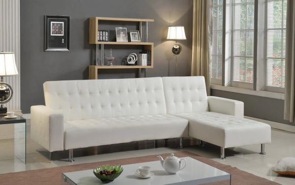 Swell 1316 White Leather Sectional Sofa Bed Caraccident5 Cool Chair Designs And Ideas Caraccident5Info