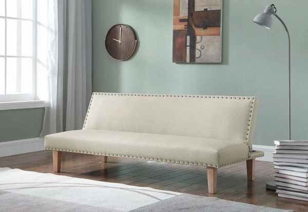 Terrific B0037 1Pc Sofa Bed Futon Beige Leather With Nailhead Trim Forskolin Free Trial Chair Design Images Forskolin Free Trialorg