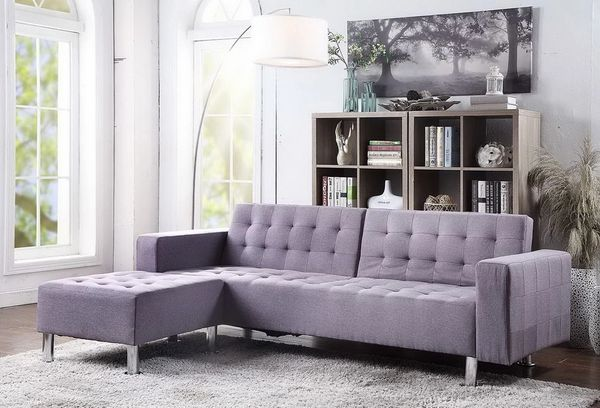 #1301 GREY FUTON/SOFA BED WITH LARGE OTTOMAN!!!!