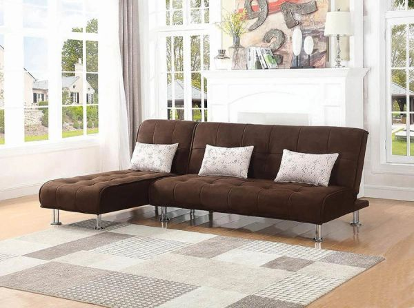 Remarkable B0276 2Pc Brown Microfiber Sectional Sofa Bed Gmtry Best Dining Table And Chair Ideas Images Gmtryco