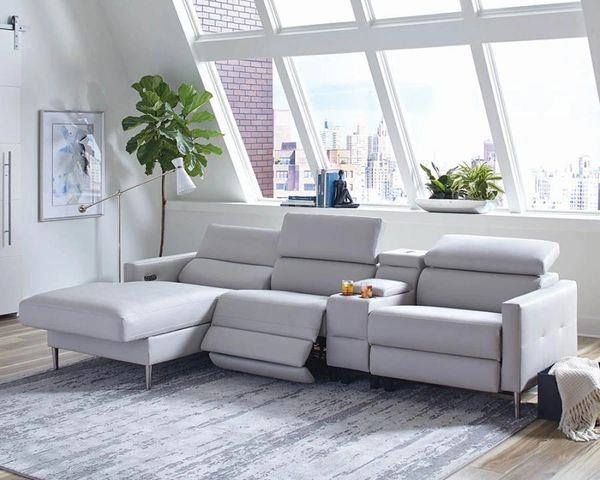B0370 Light Grey Sectional With Power Recline Amp Power
