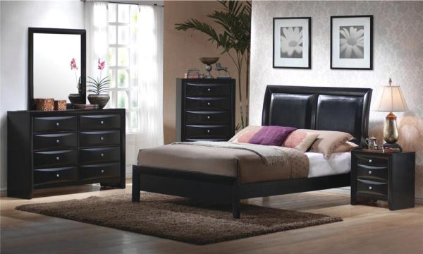 #B2272-EK 4PC KING BLACK BED, DRESSER, MIRROR, NSTAND