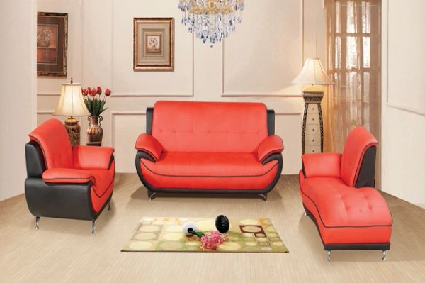 #8160 3PC RED/BLACK LEATHER SOFA, CHAISE & CHAIR