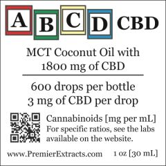 Two bottles of ABCD CBD 1800mg