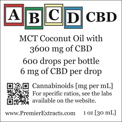 Two bottles of ABCD CBD 3600mg