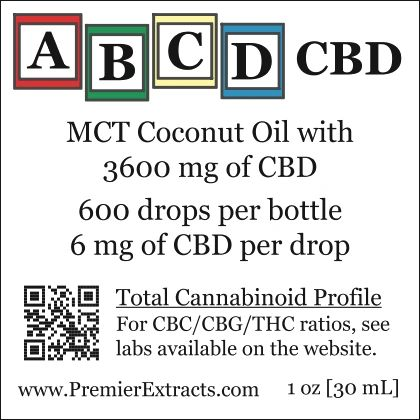 Three bottles of ABCD CBD 3600mg