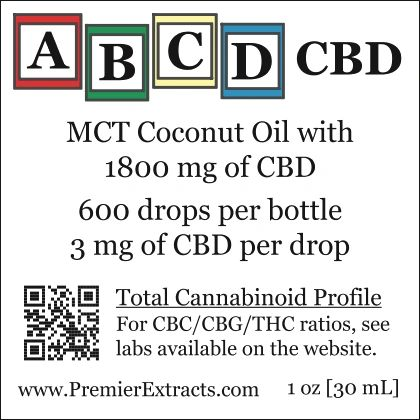 Three bottles of ABCD CBD 1800mg