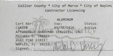 Aluminum Contractors License, Naples, Marco Island, Collier County, Fl. Screen Repair, Lanai Repair.