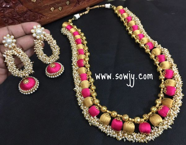 734c9a1b1e0 Grand Long Silk Thread Haaram with Pink and Gold Silk Thread Beads and  pearl Ghungrros with Grnad And Long Jhumkas!!!!