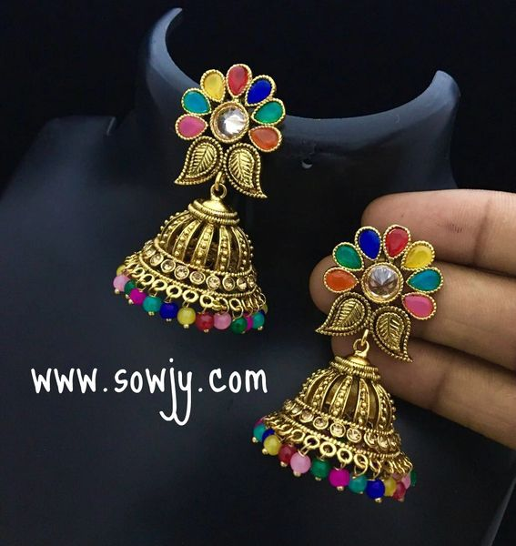 91a328ea78 Antique One Gram Gold Plated Multicolor Floral Jhumkas!!!! | Sowjy ...